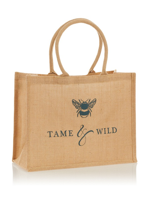 Tame and Wild Drinks branded hessian bag