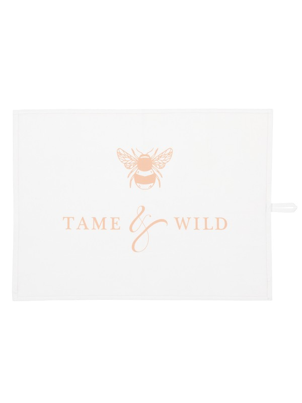 Tame and Wild Drinks branded tea towel